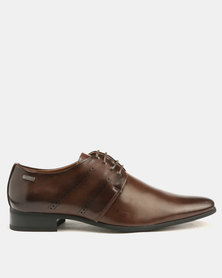 Gino Paoli Formal Side Punch Lace Ups Brown
