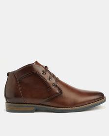 Gino Paoli Stitch Lace Up Boots Brown