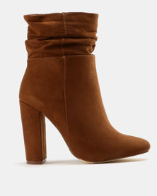 Madison Luca Ruched Ankle Boot Whiskey