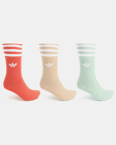 adidas Unisex Solid Crew Originals 3 Pack Socks Multi