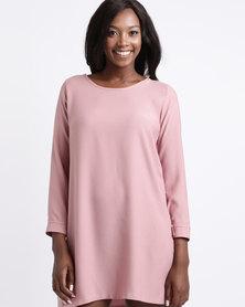 Gee Love It Long Sleeve Shift Dress Dusty Pink