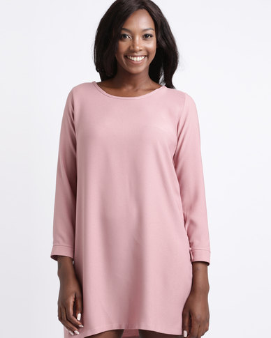 Gee Love It Long Sleeve Shift Dress Dusty Pink