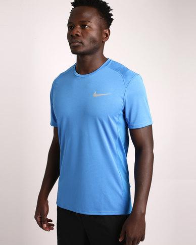 de91a9294f Nike Performance Men's Nike Miler Short Sleeve Running Top Blue | Zando