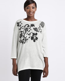 UB Creative Jersey with Printed Flowers Green