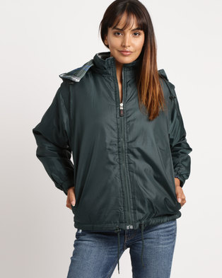 Utopia Unisex Reversible Rain Jacket Bottle Green