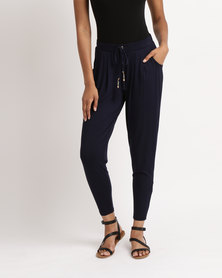 Miss Cassidy By Queenspark Relaxed Knit Trouser With Tassel Detail Navy