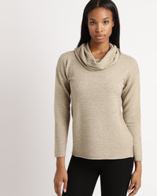 Miss Cassidy By Queenspark Ottoman Knit Poloneck Jersey Taupe