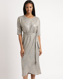 Miss Cassidy By Queenspark Tie Front Knit Maxi Dress Gold