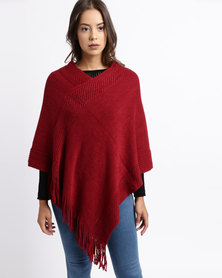 Queenspark Bobbled Textured Poncho Red