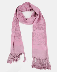 Queenspark Flower Print With Border Jacquard Scarf Lilac