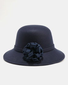 Queenspark Felt Hat With Lace Trim Navy