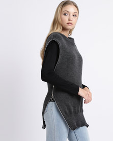 Nucleus Zip Me Up Tunic Charcoal