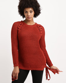 Utopia Chunky Knitwear With Lace Up Jersey Red
