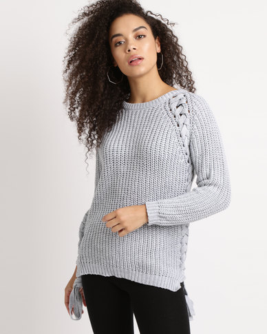 Utopia Melange Chunky Knitwear With Lace Up Grey