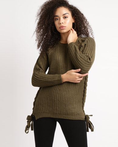Utopia Chunky Knitwear With Lace Up Olive