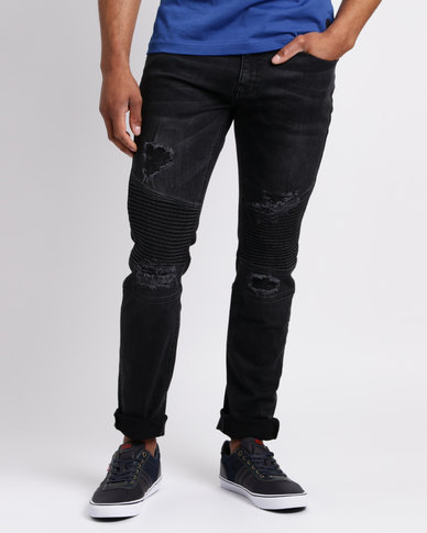 Crosshatch Coramba Ripped Biker Jeans Black
