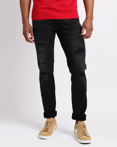 Crosshatch Sunnyvale Ripped Skinny Jeans Black