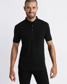 Process Black Short Sleeve Polo Shirt Black