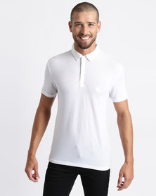 Process Black Short Sleeve Polo Shirt White