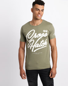 Crosshatch Klinsmen Puff Print T-Shirt Dusty Olive Green