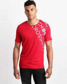 Crosshatch Fades Out Shoulder T-Shirt Cherry