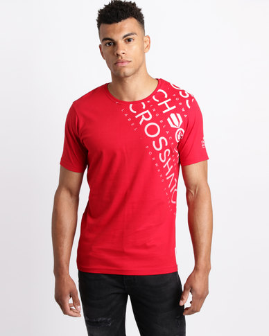 Crosshatch Fades Out Shoulder T-Shirt Cherry