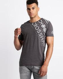 Crosshatch Fades Out Shoulder T-Shirt Raven Grey
