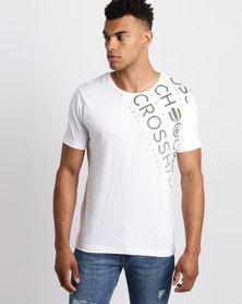 Crosshatch Fades Out Shoulder T-Shirt White