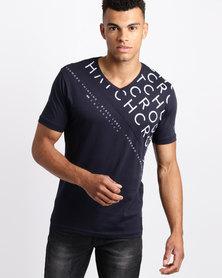 Crosshatch Newmark V-Neck T-Shirt Night Sky Blue
