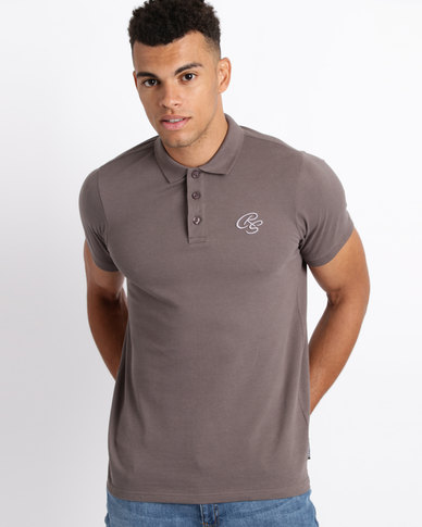 Crosshatch Bingara Raised Embroidery Polo Shirt Eiffel Tower Grey