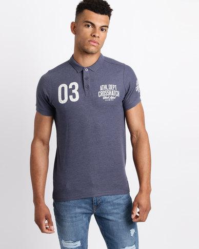 Crosshatch Truman 03 Pique Polo Shirt Indigo Blue Marl