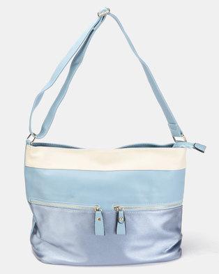 Utopia 3 Tone Handbag Blue Beige