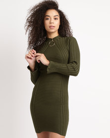 Utopia Knitwear Dress With Ring Trim Olive