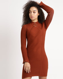 Utopia Knitwear Dress With Ring Trim Cinnamon