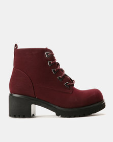 AWOL Block Heel Ankle Boots Burgundy