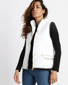 Queenspark Concealed Hood Gilet Woven Jacket Cream