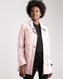 Queenspark Sueded Eyelet Detail Woven Coat Pink
