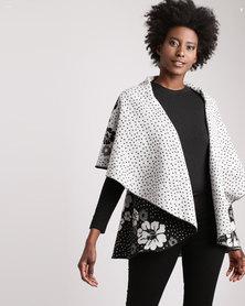 Queenspark Circular Reversible Knit Jacket Black/White