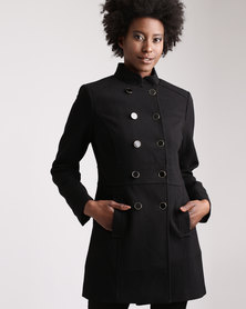 Queenspark Double Breasted Casual Woven Coat Black