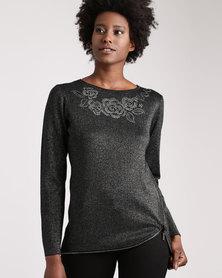 Queenspark Zip & Iron-on Knitwear Top Silver