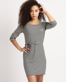 Utopia Stripe 3/4 Sleeve Basic T-Shirt Dress Black & White