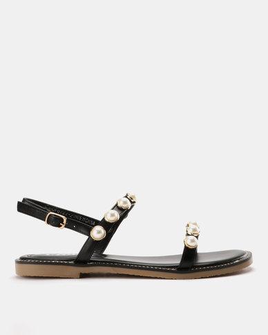 bc94af3f4 Utopia Pearl Flat Sandal Black | Zando