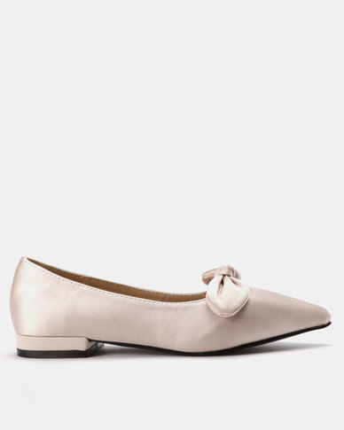 Utopia Satin Bow Pointy Pump Light Pink
