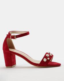 Utopia Pearl Block Heel Sandal Red