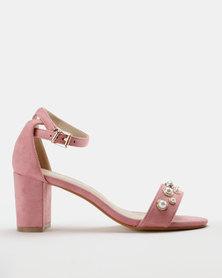 Utopia Pearl Block Heel Sandal Light Pink