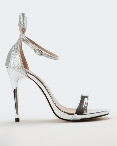 Utopia Bow Counter Heel Sandal Silver