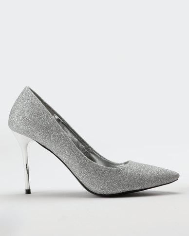 Utopia Glitter Pointy Court Heel Silver