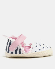 Bugsy Boo Baby Heart Shoes Pink/Blue/White