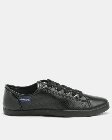 Pierre Cardin Pierre Cardin Calida Perforated PU Plimsoll Sneakers Black buy cheap 100% guaranteed qDjaVR