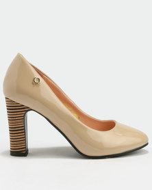 Bronx Women Tanya Block Heel Court Shoe Nude